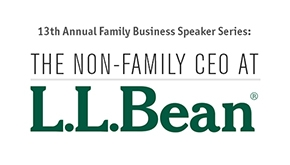 Logo for the Family Business Speaker Series featuring the non-family CEO at L.L.Bean